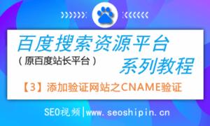 3.添加验证网站之CNAME验证操作-百度搜索资源平台系列教程