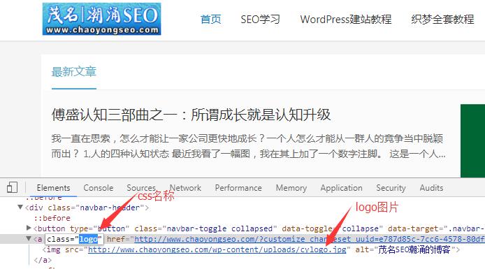 找到自己网站的logo图片的css名称