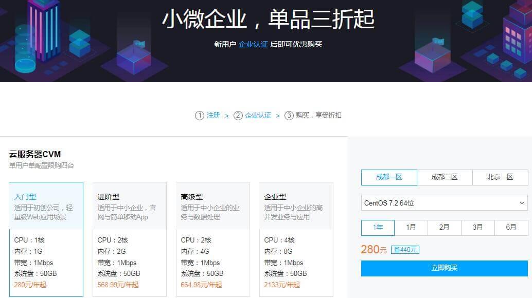 新用户+企业认证 后即可优惠购买腾讯云CVM